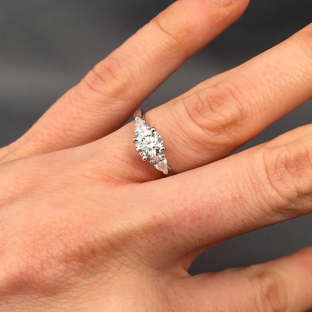 Sophie Trilogy Diamond Engagement Ring | Daniel Christopher Regarding Round Brilliant Engagement Rings With Pear Shaped Side Stones (View 5 of 25)