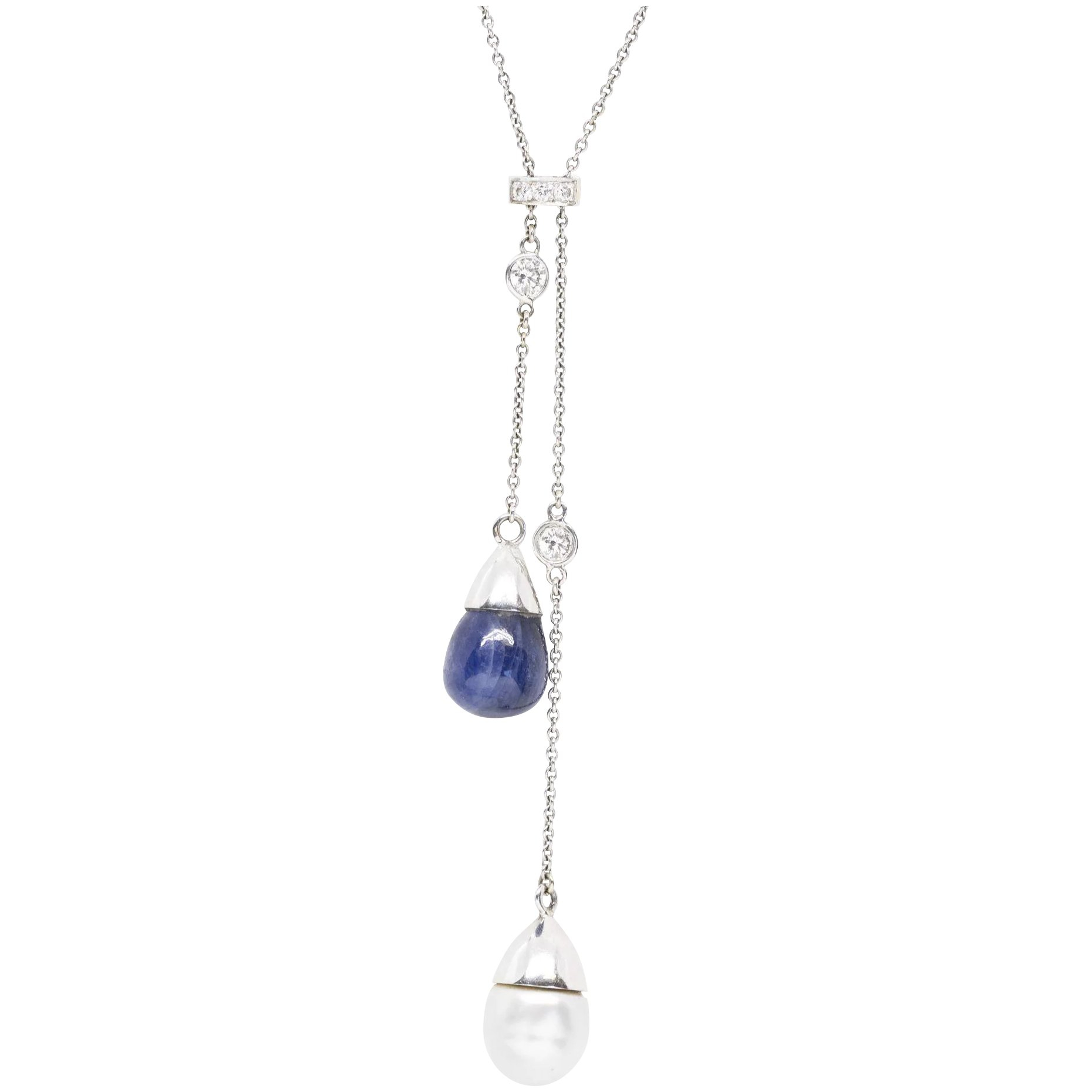 South Sea Pearl And Blue Star Sapphire Diamond Lariat Necklace  (View 23 of 25)