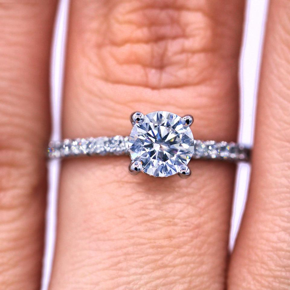 Sparkling 1.03 Tcw Round Cut Diamond French Pave Engagement Ring Intended For Round Brilliant Diamond Micropavé Engagement Rings (Gallery 15 of 25)