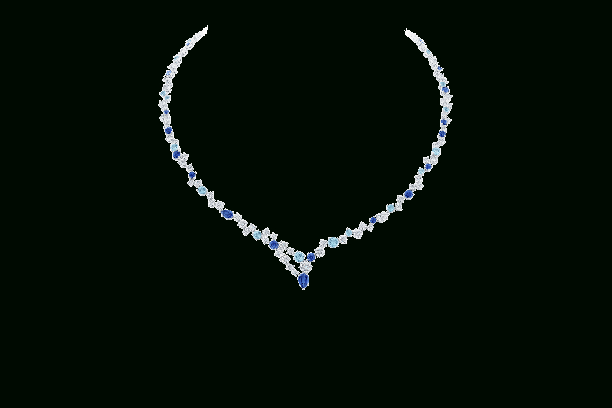 Sparkling Cluster Sapphire And Diamond Necklace | Harry Winston Throughout 2019 Sapphire, Aquamarine And Diamond Necklaces (View 23 of 25)