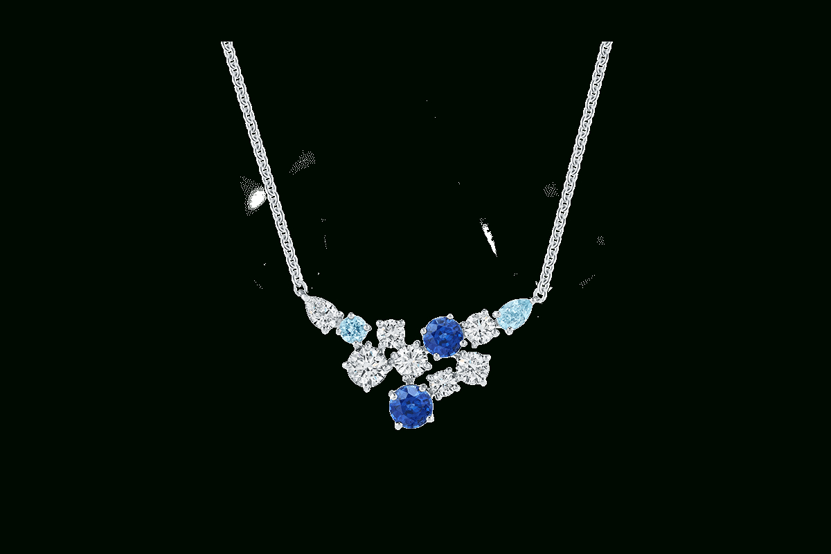 Sparkling Cluster Sapphire And Diamond Pendant | Harry Winston Intended For Newest Sapphire, Aquamarine And Diamond Necklaces (Gallery 1 of 25)