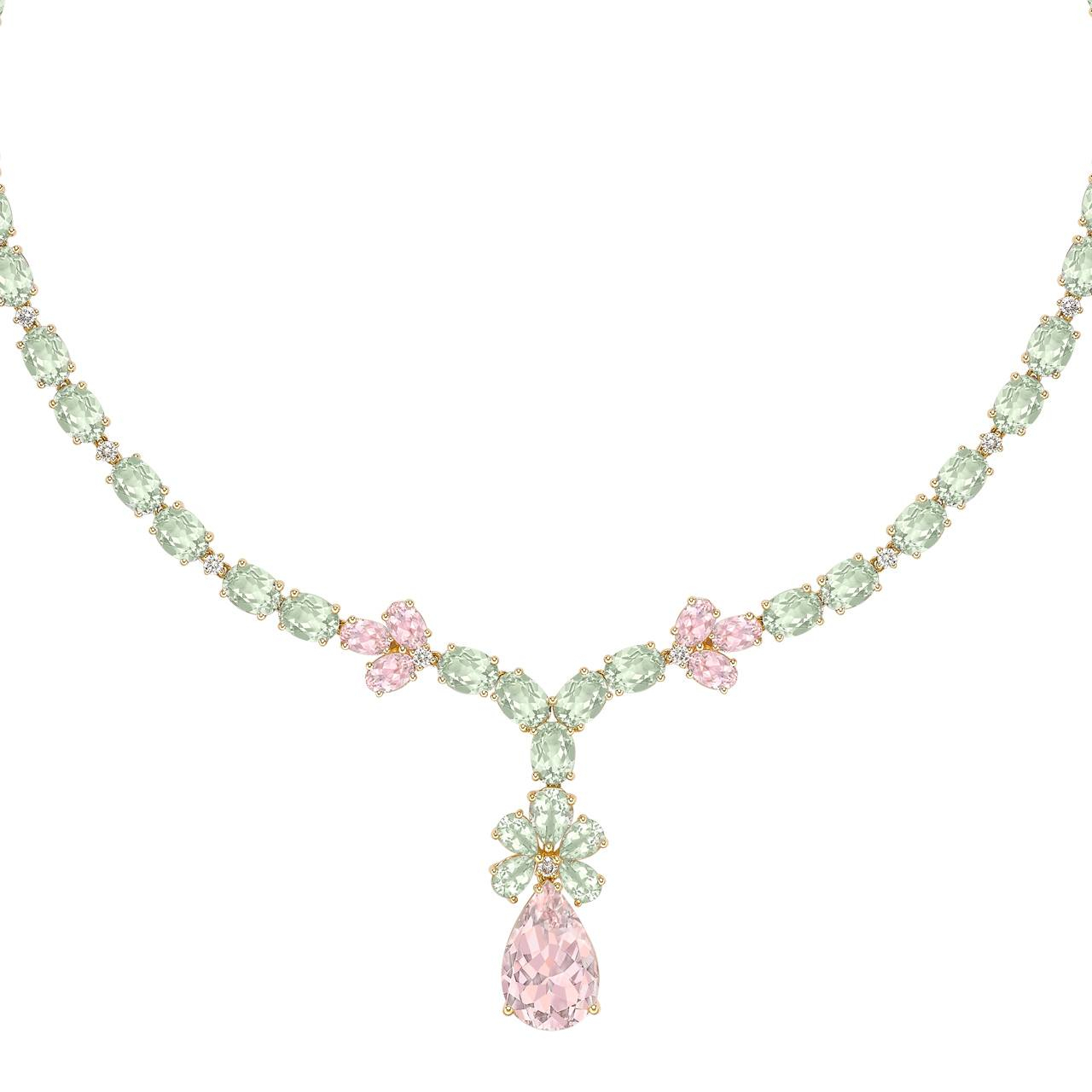 Special Edition Morganite, Green Amethyst And Diamond Necklace In Yellow  Gold Intended For Best And Newest Diamond Necklaces In Yellow Gold (View 23 of 25)
