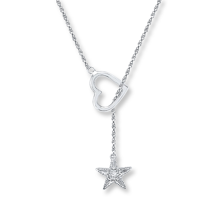 Star Lariat Necklace Diamond Accent Sterling Silver Within Latest Lariat Diamond Necklaces (View 14 of 25)