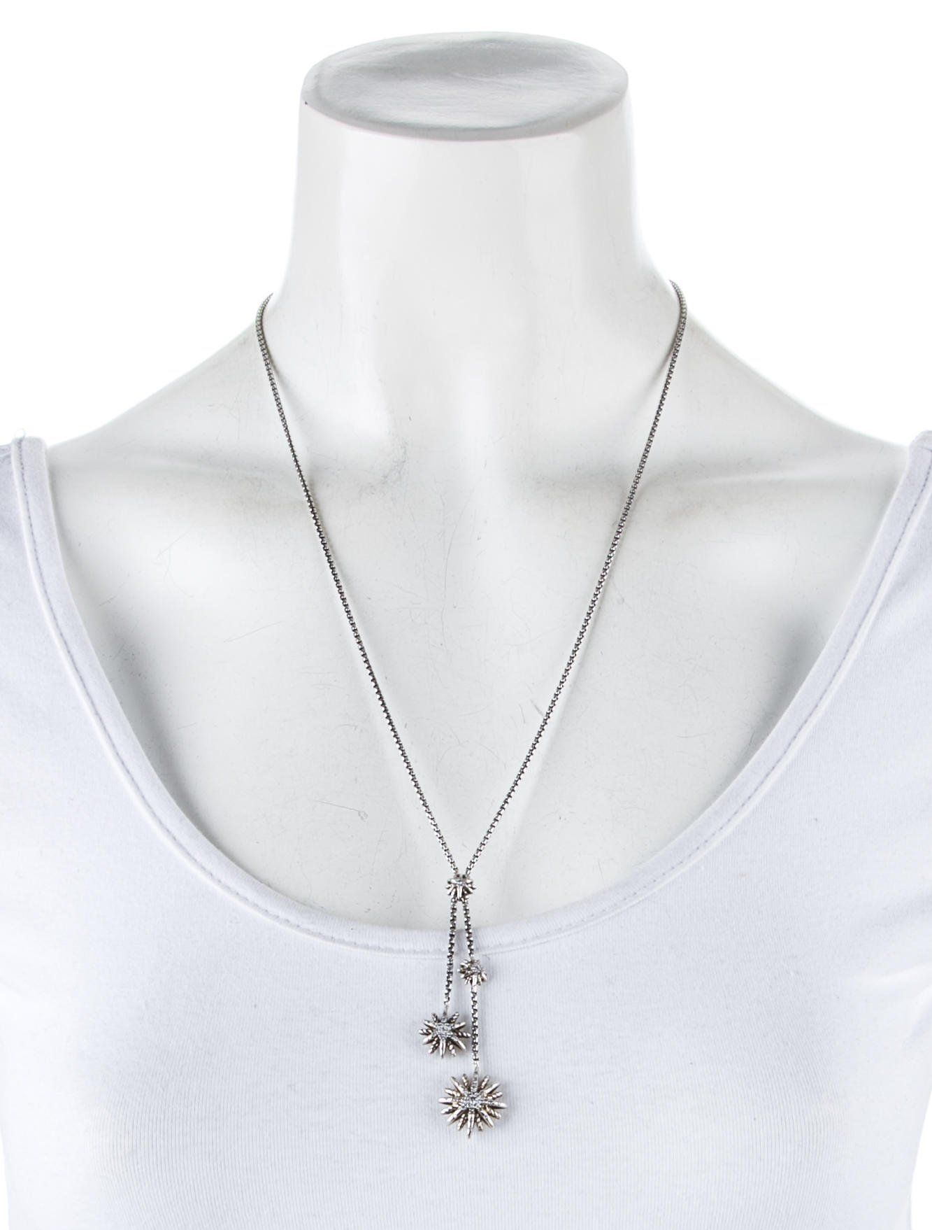 Sterling Silver David Yurman Box Chain Necklace Featuring Within Latest Round Brilliant Diamond Lariat Necklaces (View 22 of 25)