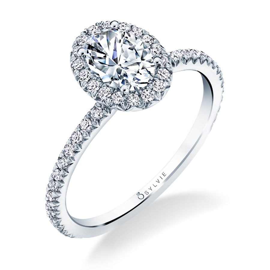 Sylvie S1793 Oval Shaped Halo Engagement Ring Within Oval Shaped Engagement Rings (View 4 of 25)