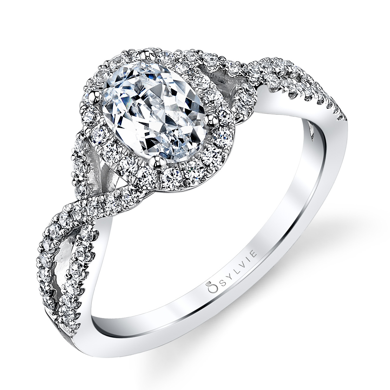 Sylvie Sy260 Oval Shaped Split Shank Engagement Ring With Halo In Oval Shaped Engagement Rings (Gallery 21 of 25)
