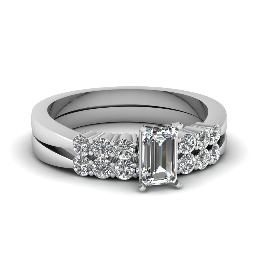 Tapered 7 Stone Wedding Ring Set Within Newest Prong Set Emerald Cut Diamond Wedding Bands (Gallery 16 of 25)