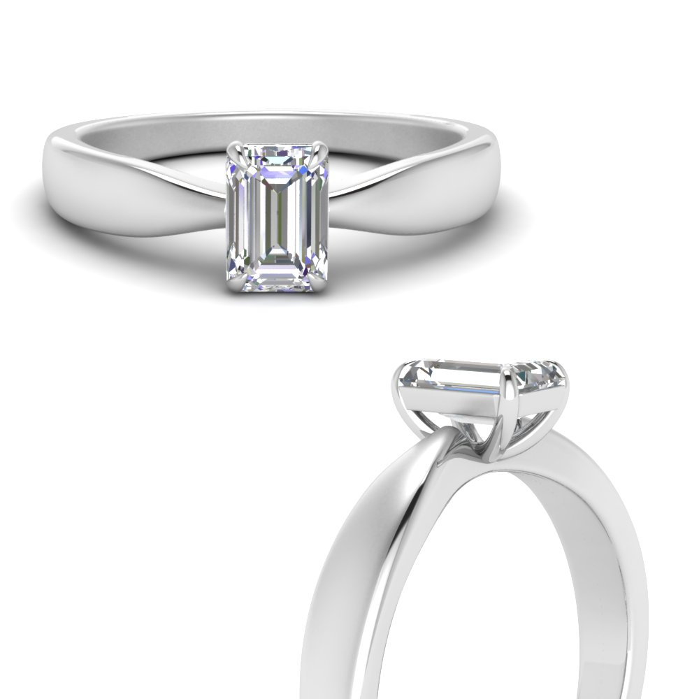 Tapered Bow Solitaire Ring Pertaining To Solitaire Emerald Cut Engagement Rings (Gallery 17 of 25)