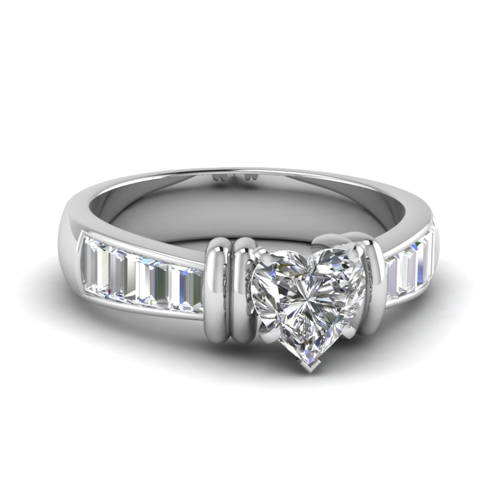 Tapered Heart Diamond Engagement Ring With Baguette In 14k White Gold With Regard To Heart Shaped Engagement Rings With Tapered Baguette Side Stones (View 3 of 25)