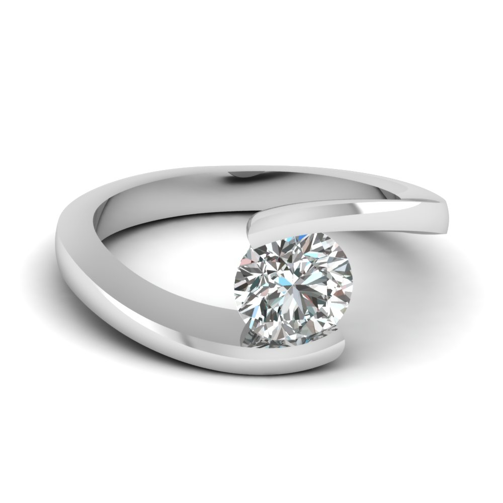 Tension Set Solitaire Ring Regarding Solitaire Round Brilliant Engagement Rings (View 16 of 25)