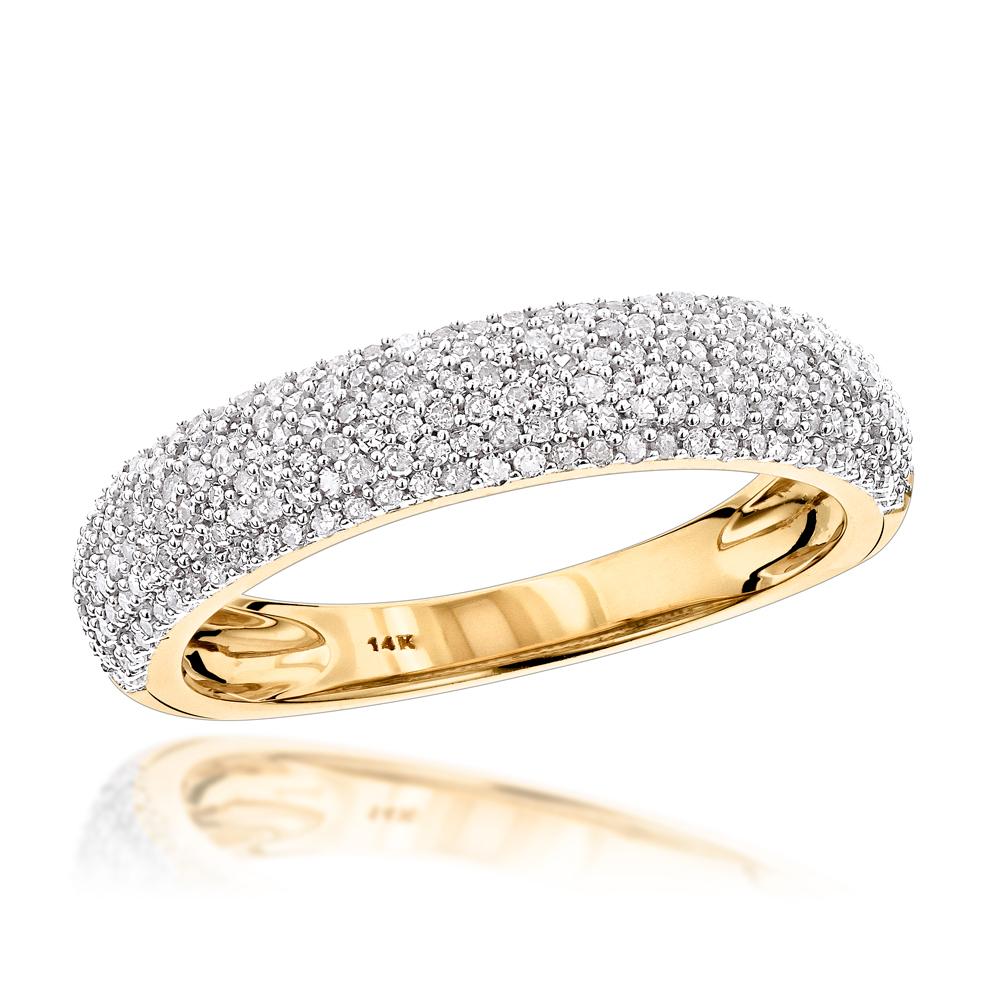 Thin 14k Gold Micro Pave Diamond Wedding Band For Women  (View 12 of 25)
