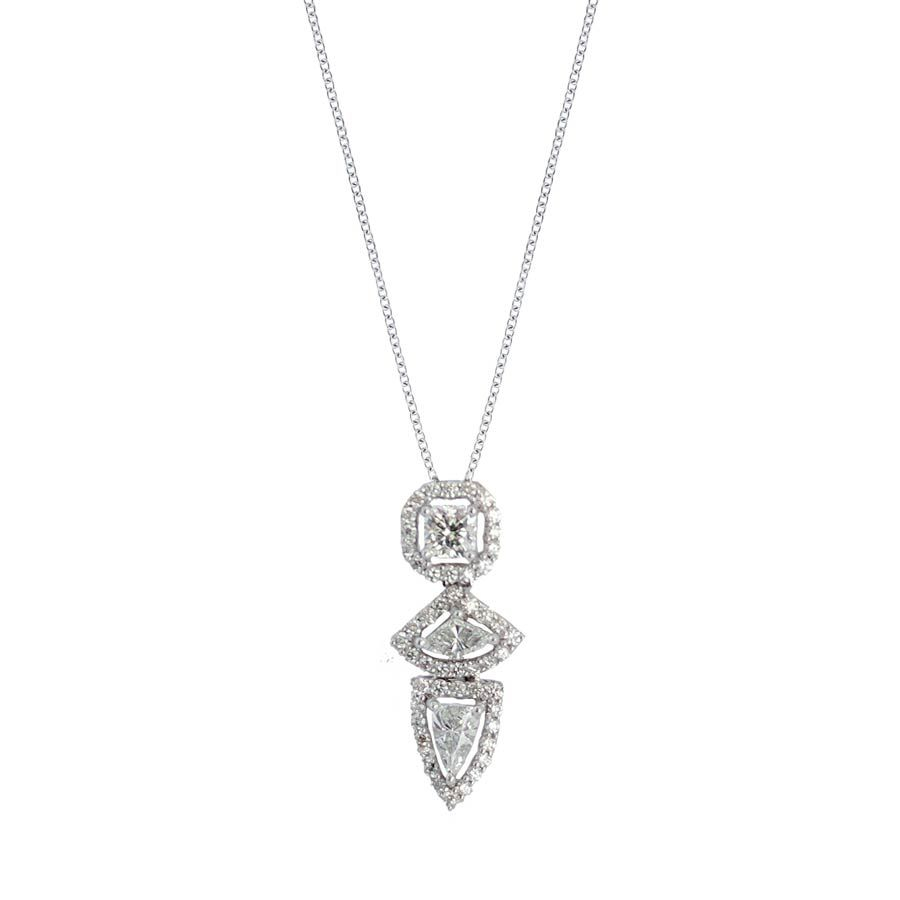 Three Fancy Vertical Diamond Pendant In Platinum Necklace For Most Recently Released Diamond Necklaces In Platinum (View 24 of 25)