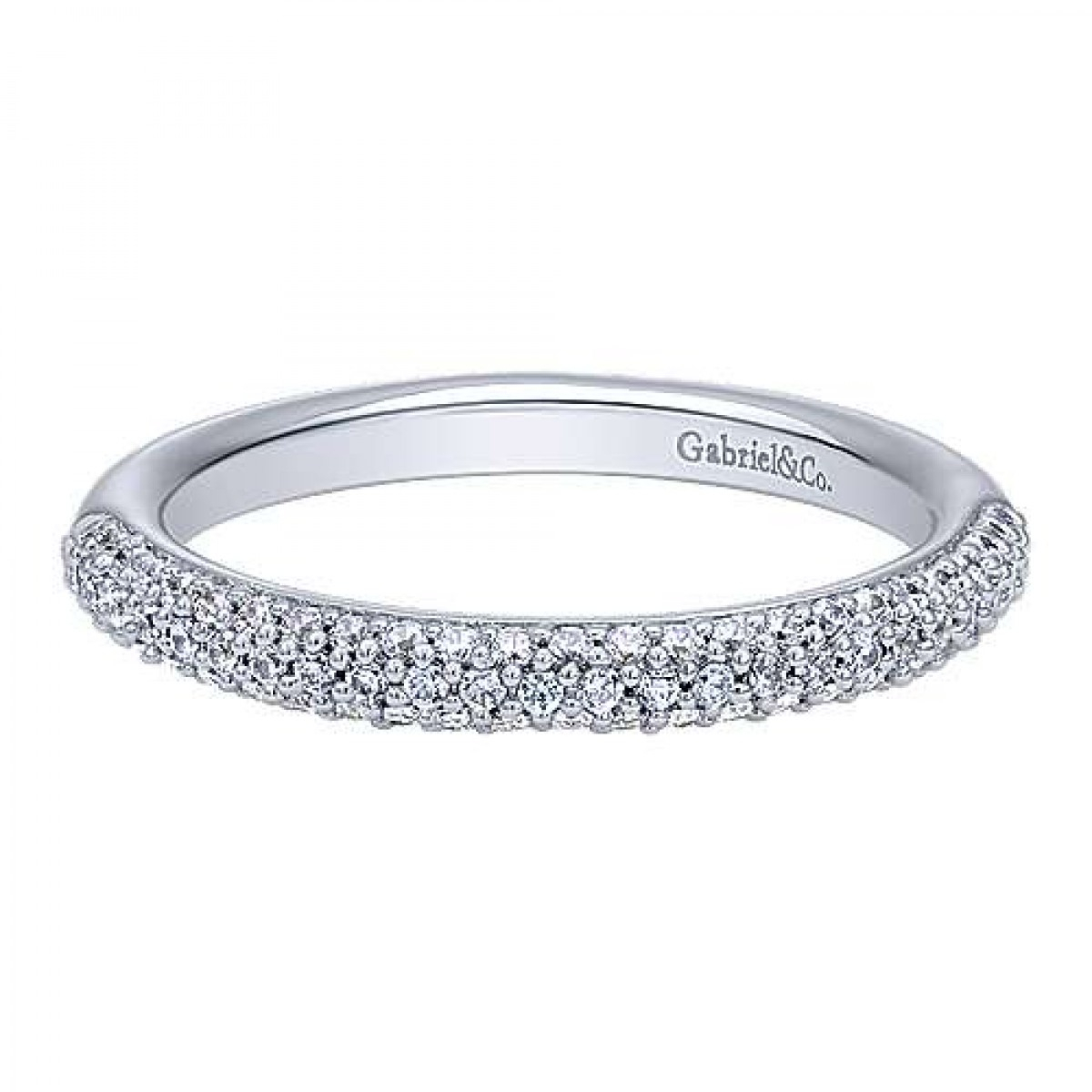 Three Row Micro Pave Diamond Wedding Ring (0.38 Ct. Tw.) For Most Popular Triple Row Micropavé Diamond Wedding Bands (Gallery 13 of 25)
