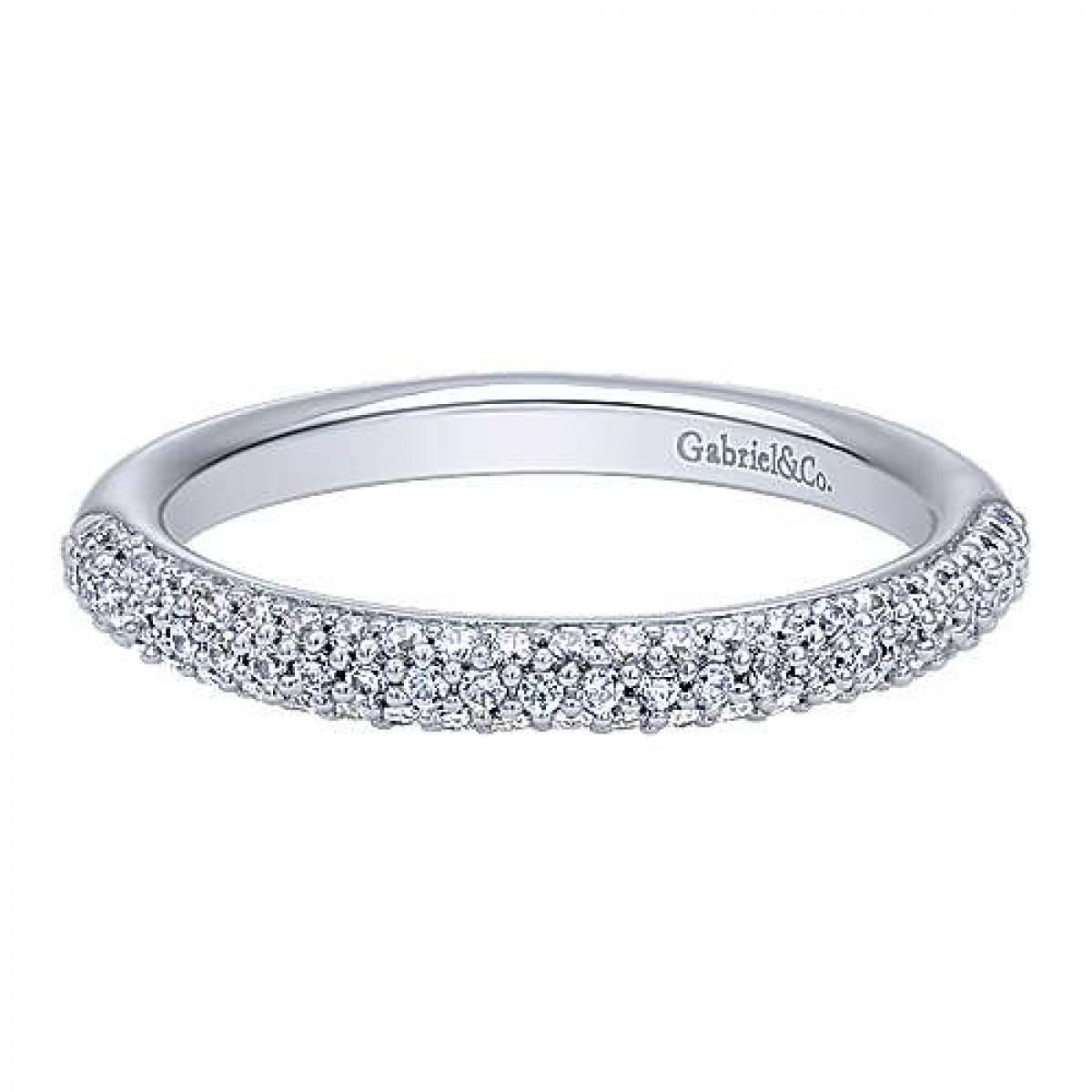 Three Row Micro Pave Diamond Wedding Ring (0.38 Ct. Tw (View 19 of 25)