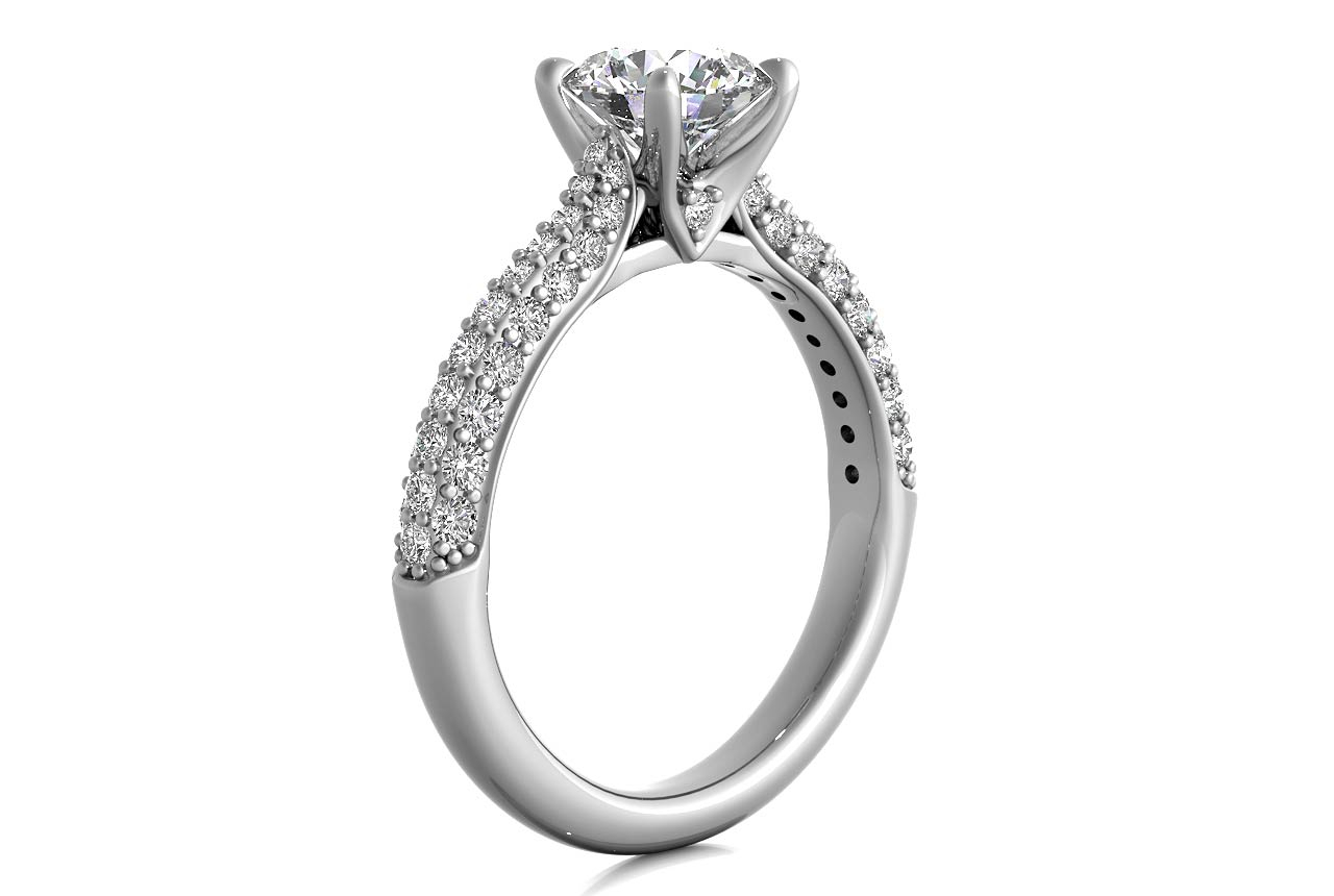 Three Row Pave Diamond Engagement Ring Inside Triple Row Micropavé Diamond Engagement Rings (Gallery 1 of 25)