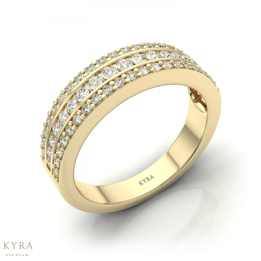 Three Row Pave Set Diamond Wedding Ring In 18K Yellow Gold With Regard To Triple Row Micropavé Diamond Engagement Rings (Gallery 17 of 25)