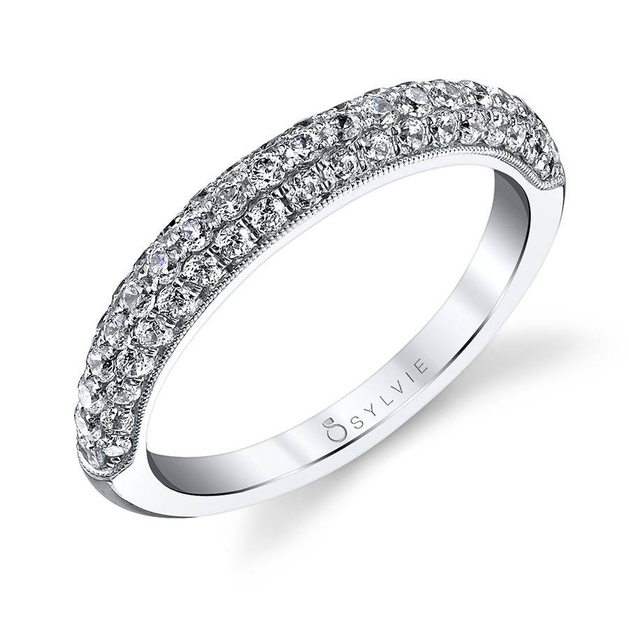 Three Row Pave Wedding Band – Bs1076 | Sylvie For Triple Row Micropavé Diamond Engagement Rings (View 11 of 25)