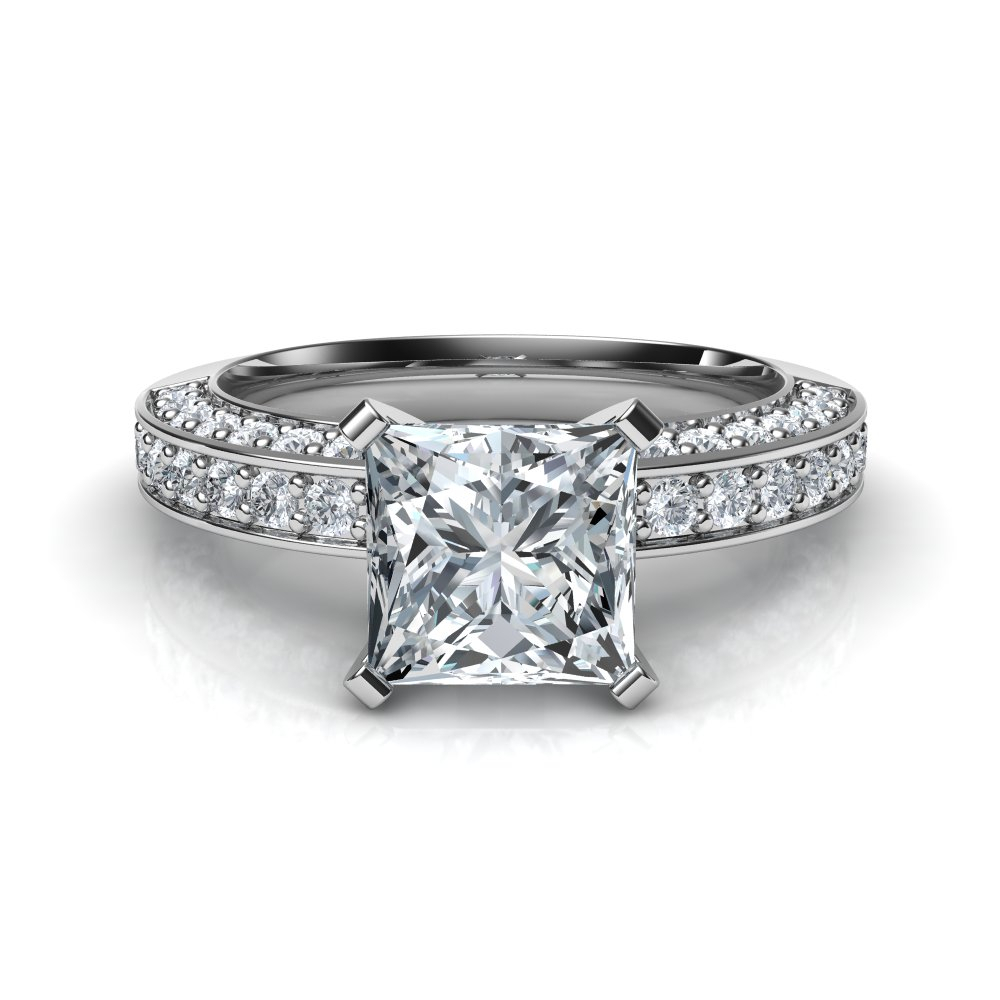Three Sided Pavé Princess Cut Diamond Engagement Ring For Oval Shaped Diamond Micropavé Engagement Rings (Gallery 22 of 25)