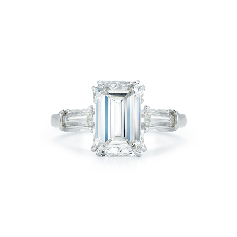 Three Stone Collection – 2.99 Carat Emerald Cut & Tapered Baguette Diamond  Engagement Ring In Emerald Cut Engagement Rings With Tapered Baguette Side Stones (Gallery 2 of 25)