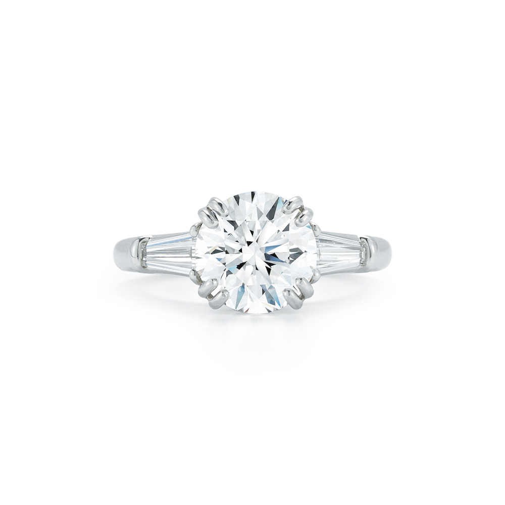 Three Stone Collection – Round Brilliant & Tapered Baguette Throughout Round Brilliant Engagement Rings With Tapered Baguette Side Stones (Gallery 1 of 25)