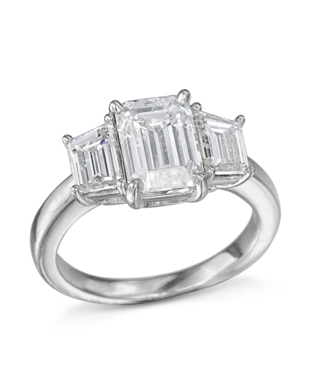 Three Stone Emerald Cut Diamond Ring – Turgeon Raine Within Emerald And Diamond Three Stone Rings (View 25 of 25)