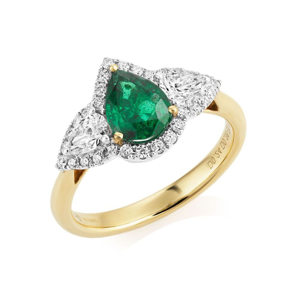 Three Stone Emerald/diamond Ring In Emerald And Diamond Three Stone Rings (View 15 of 25)