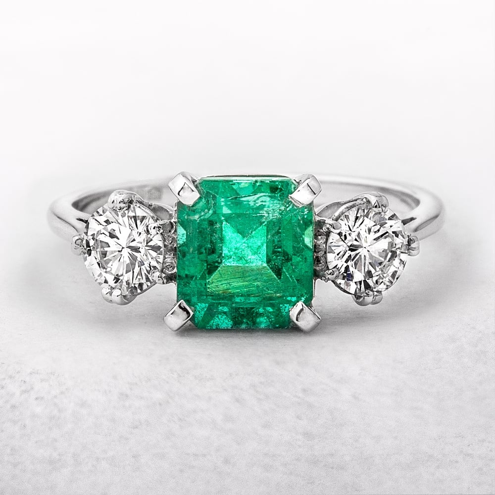 Three Stone Square Emerald & Round Diamonds Ring Regarding Emerald And Diamond Three Stone Rings (View 23 of 25)