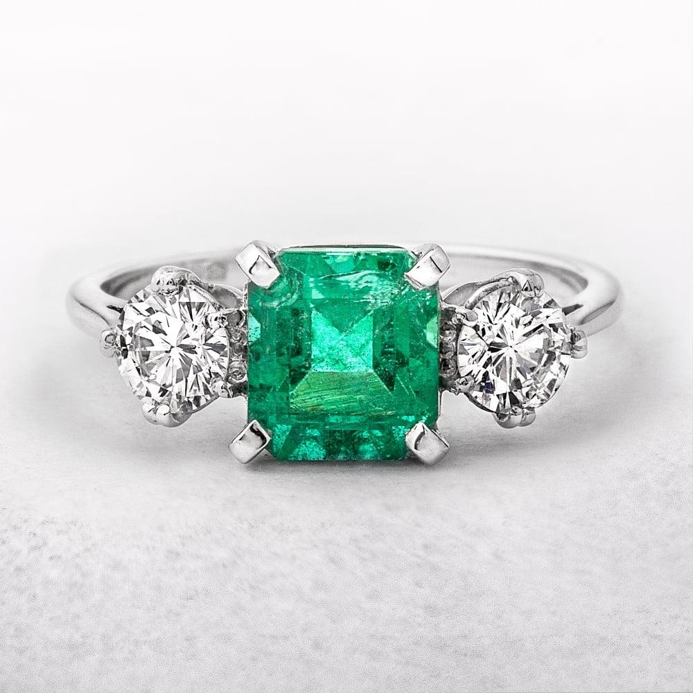 Three Stone Square Emerald & Round Diamonds Ring Regarding Emerald And Diamond Three Stone Rings (View 19 of 25)