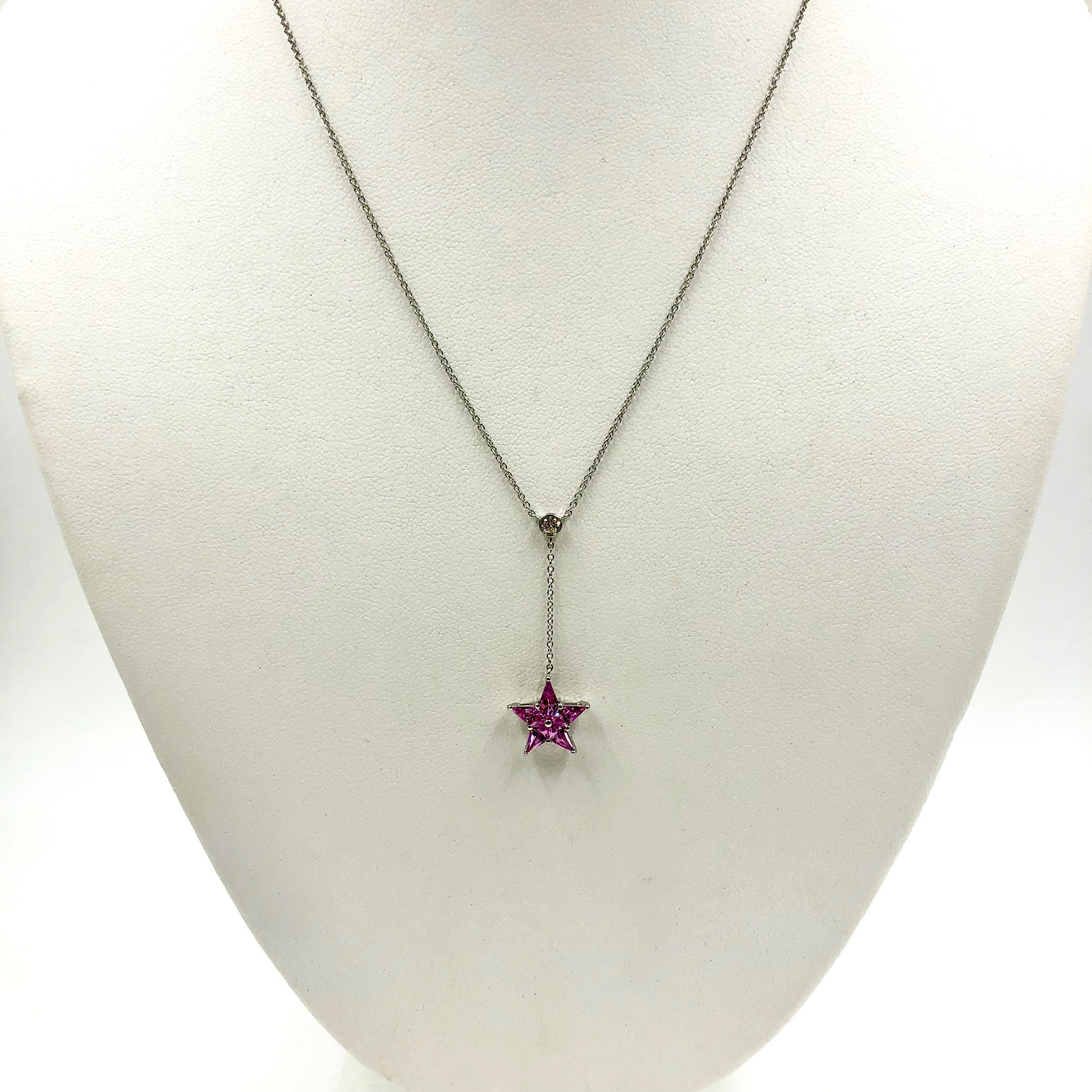 Tiffany .85 Cttw Pink Sapphire & Diamond Platinum Lariat Star Necklace In Best And Newest Lariat Pink Sapphire And Diamond Necklaces (Gallery 8 of 25)