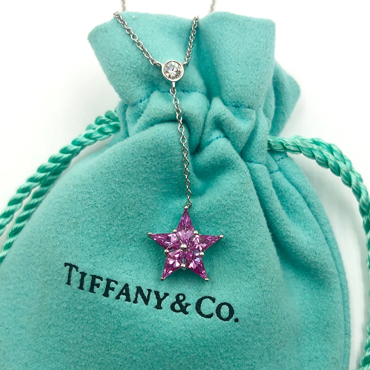 Tiffany .85 Cttw Pink Sapphire & Diamond Platinum Lariat Star Necklace In Latest Lariat Pink Sapphire And Diamond Necklaces (Gallery 6 of 25)