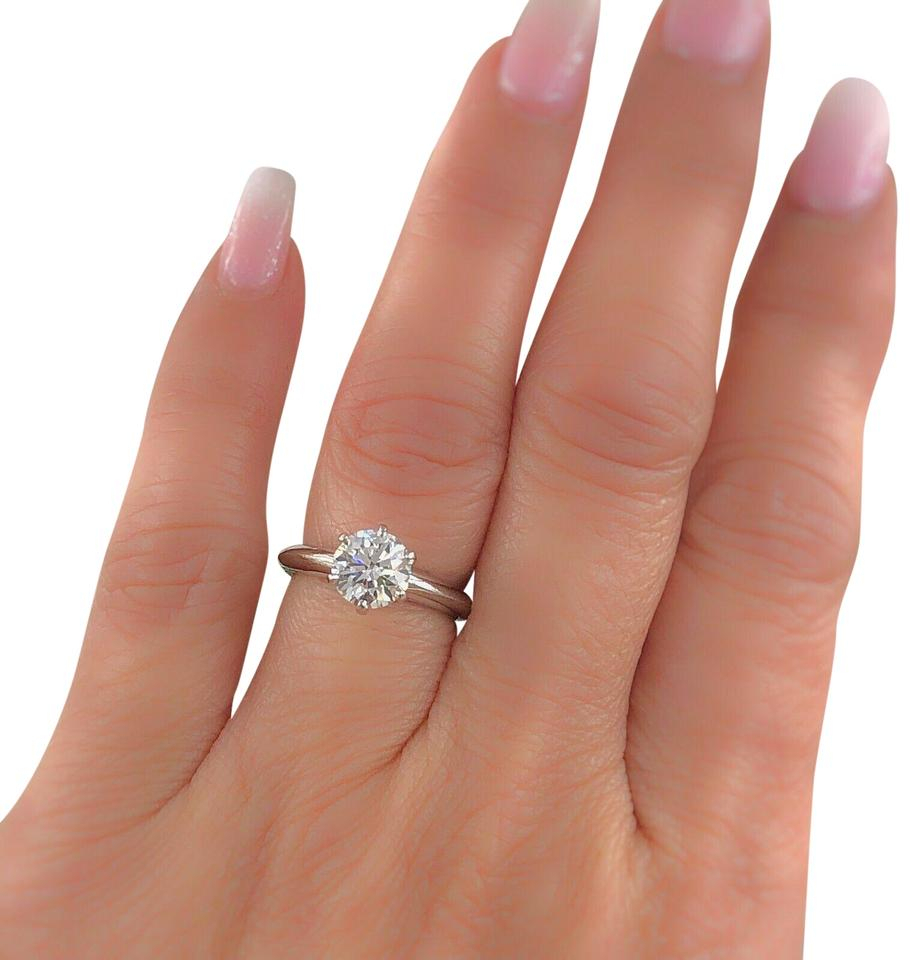 Tiffany & Co. G Vs2 Round Brilliant Diamond Solitaire Engagement 1.23 Cts  Platinum Ring Within Round Brilliant Diamond Engagement Rings (Gallery 5 of 25)