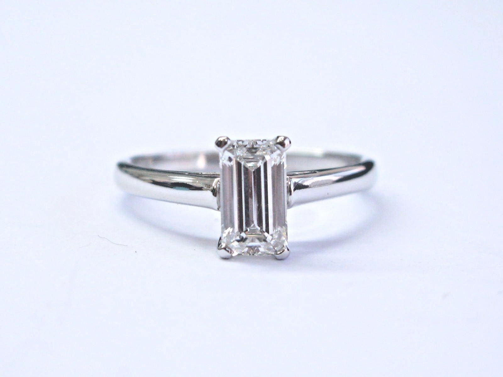 Tiffany & Co Platinum Emerald Cut Diamond Solitaire Engagement Ring .92Ct For Solitaire Emerald Cut Engagement Rings (Gallery 12 of 25)