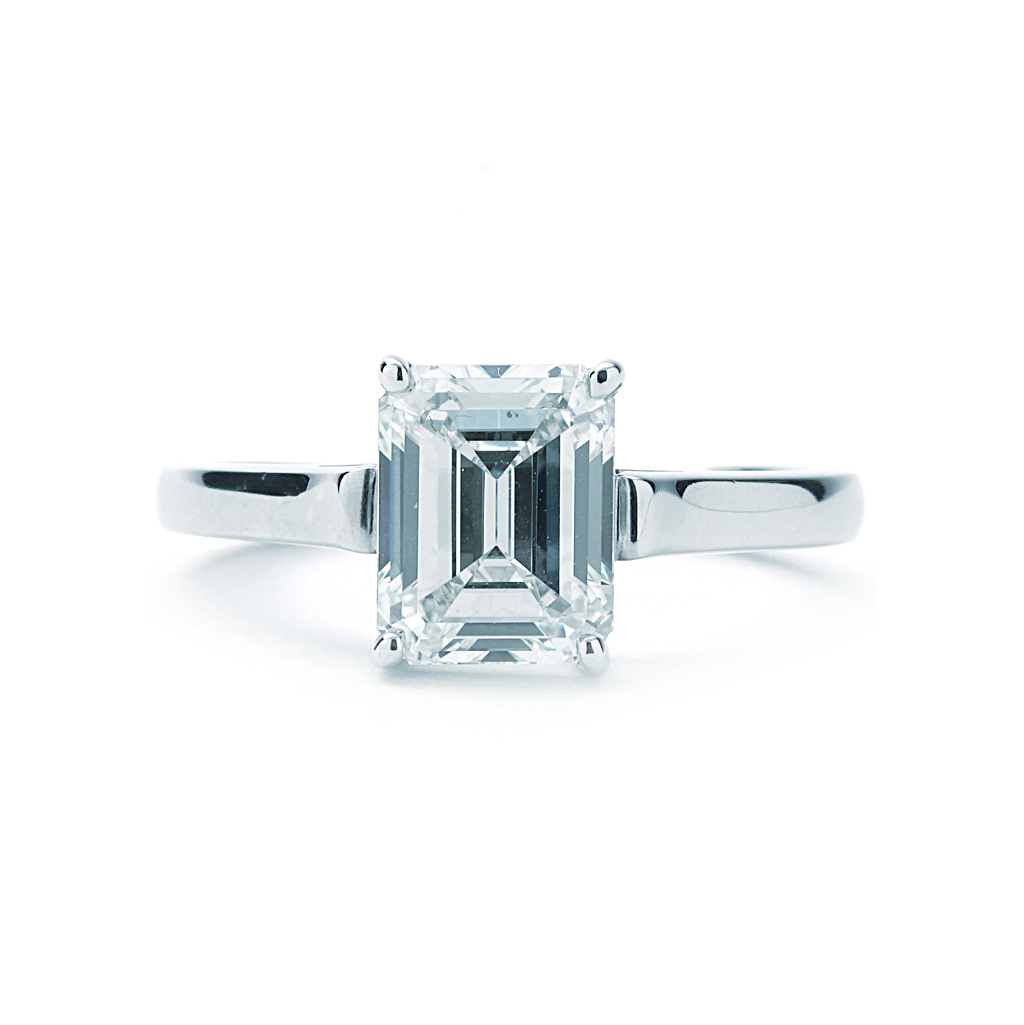 Tiffany & Co. Solitaire Emerald Cut Engagement Ring(2.45Ct Center) Platinum In Solitaire Emerald Cut Engagement Rings (Gallery 19 of 25)