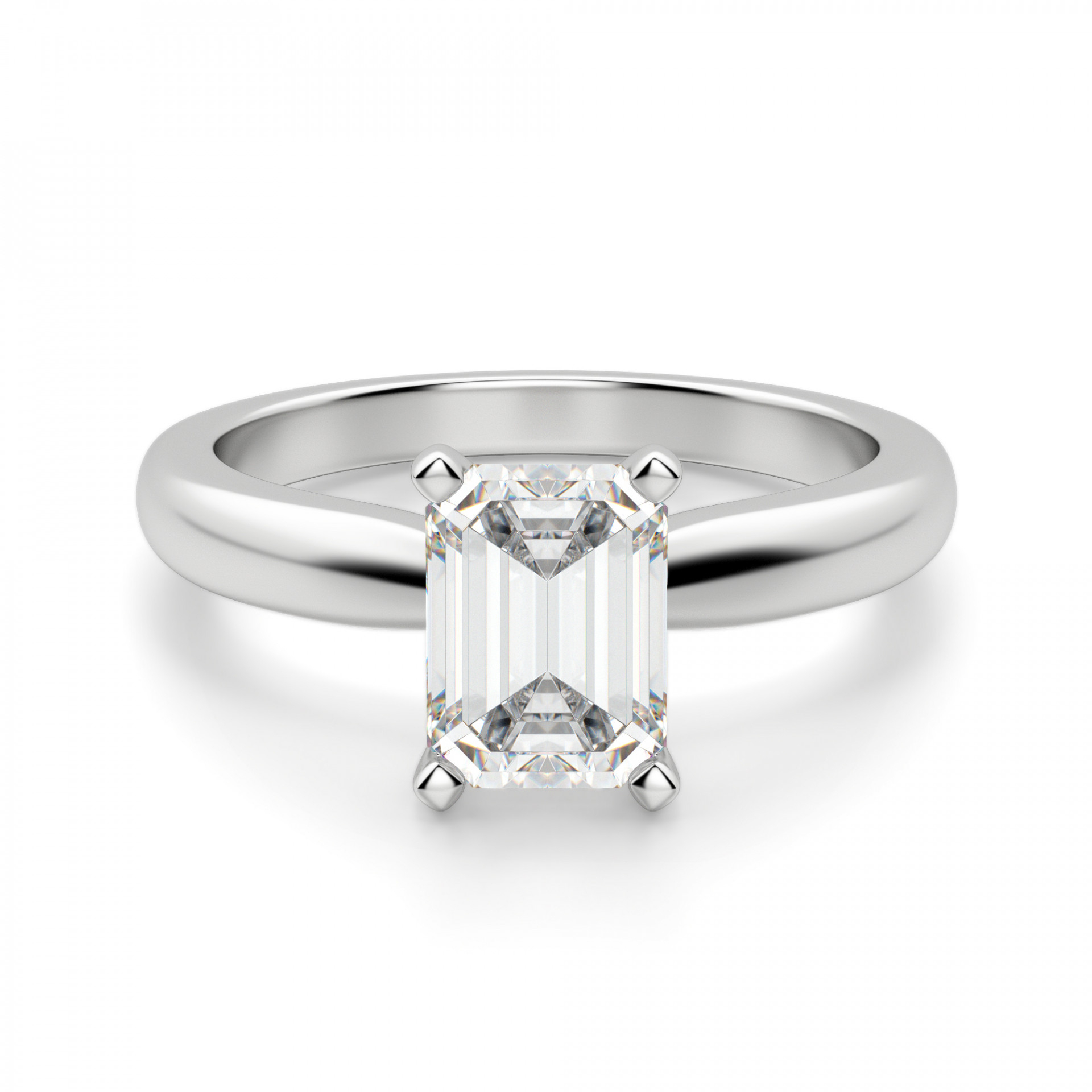 Tiffany Style Solitaire Emerald Cut Engagement Ring Regarding Solitaire Emerald Cut Engagement Rings (View 3 of 25)