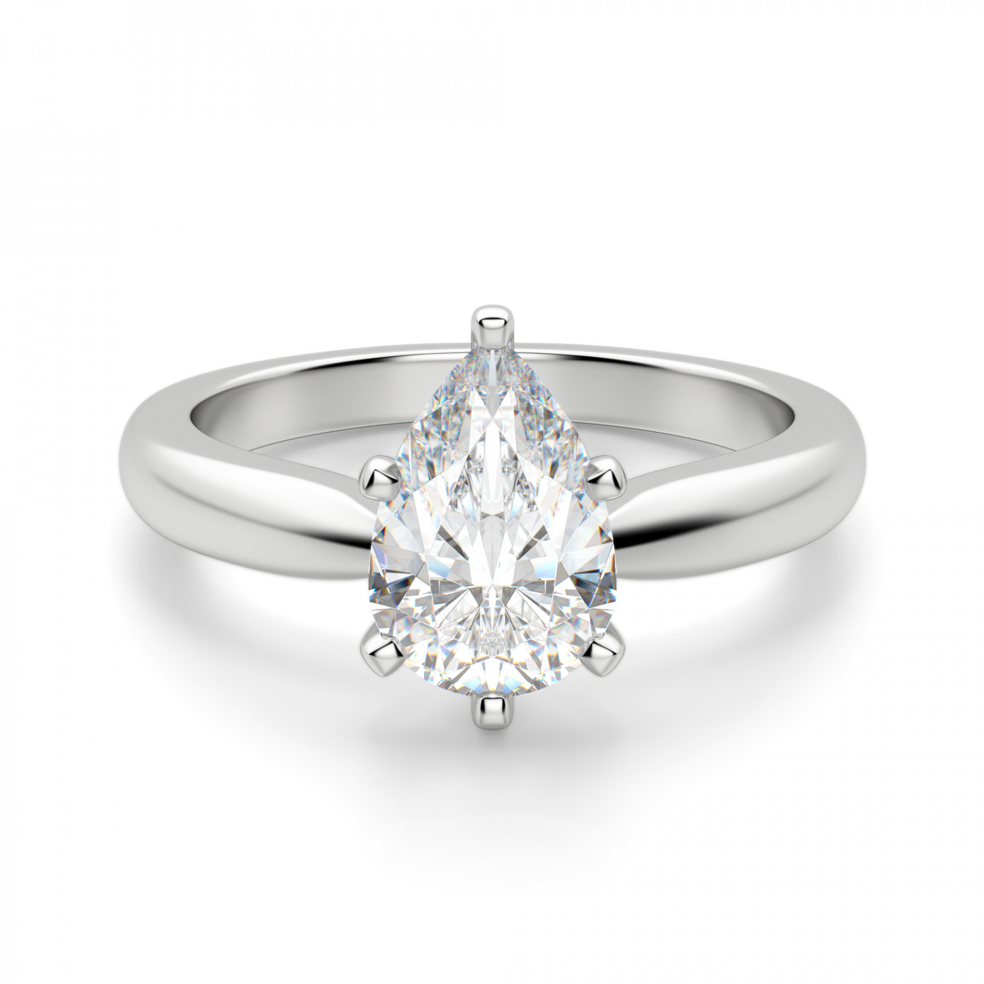 Tiffany Style Solitaire Pear Cut Engagement Ring With Regard To Pear Shaped Engagement Rings (View 10 of 25)