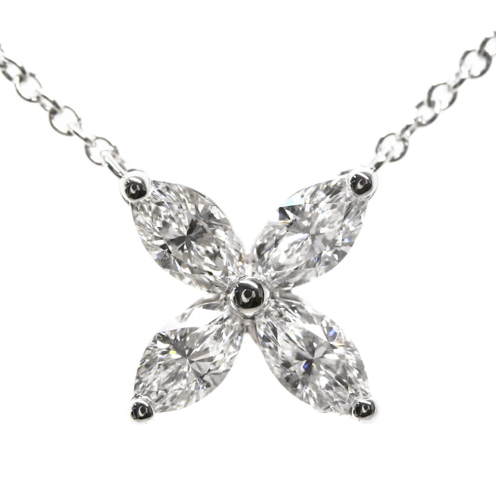 Tiffany Victoria 4p, Medium Diamond Necklace Pendant /pt950 2.8g/0.46ct/ Platinum Color /tiffany & Co * (View 13 of 25)