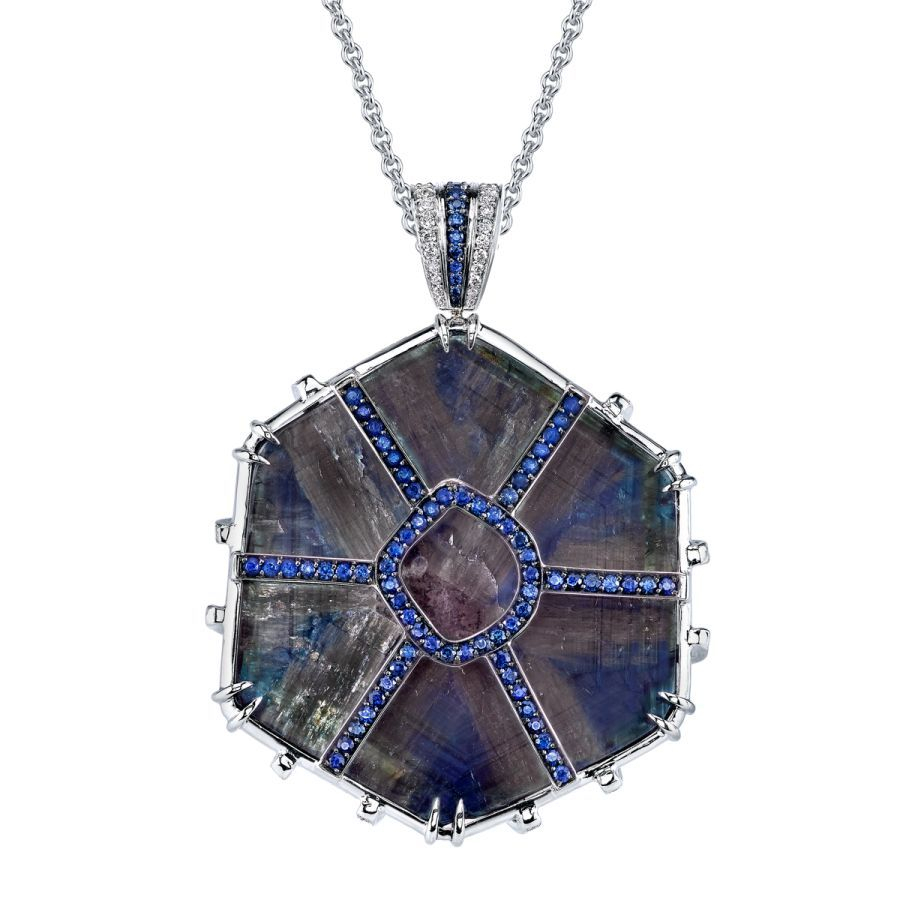 Trapiche Sapphire Pendant Within Most Up To Date Reversible Diamond, Sapphire And Aquamarine Pendant Necklaces (View 6 of 25)