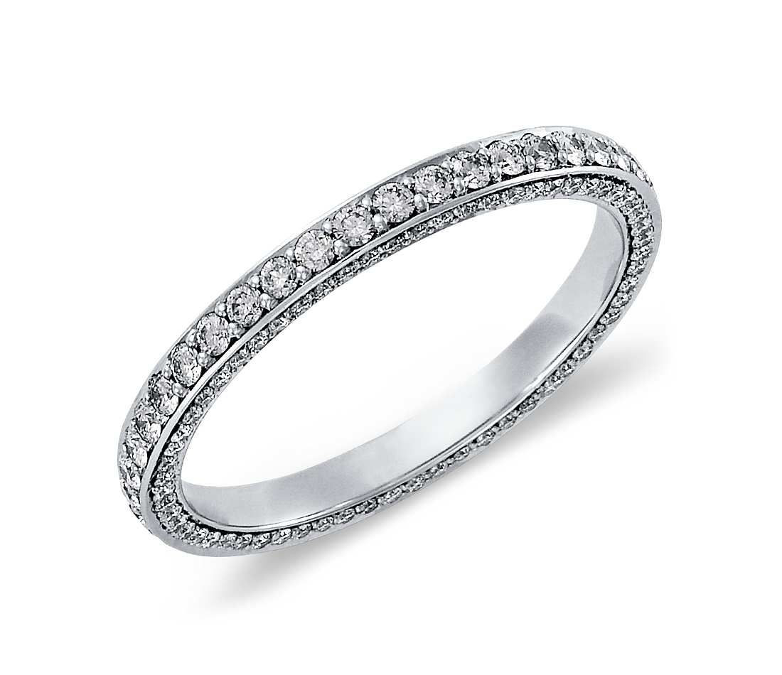 Trio Micropavé Diamond Eternity Ring In Platinum (4/5 Ct. Tw Inside Current Full Micropavé Diamond Wedding Bands (Gallery 3 of 25)