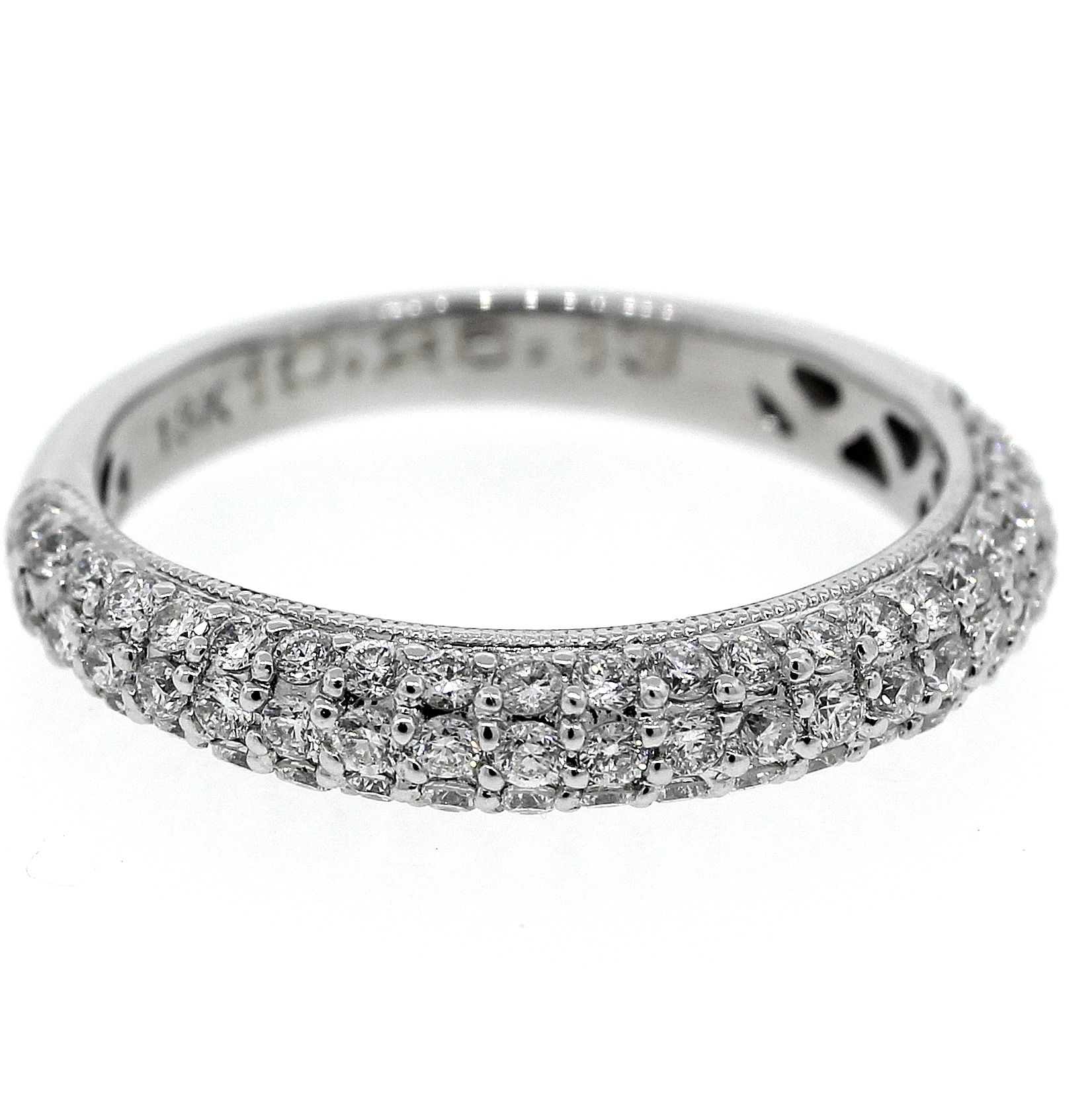 Triple Row Pave Diamond Half Eternity Band (View 11 of 25)