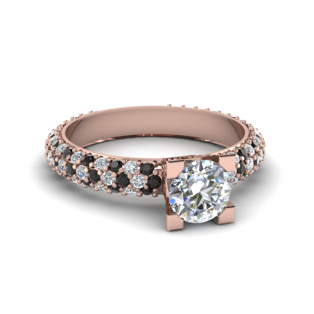 Triple Row Pave Set Ring Pertaining To Triple Row Micropavé Diamond Engagement Rings (View 8 of 25)