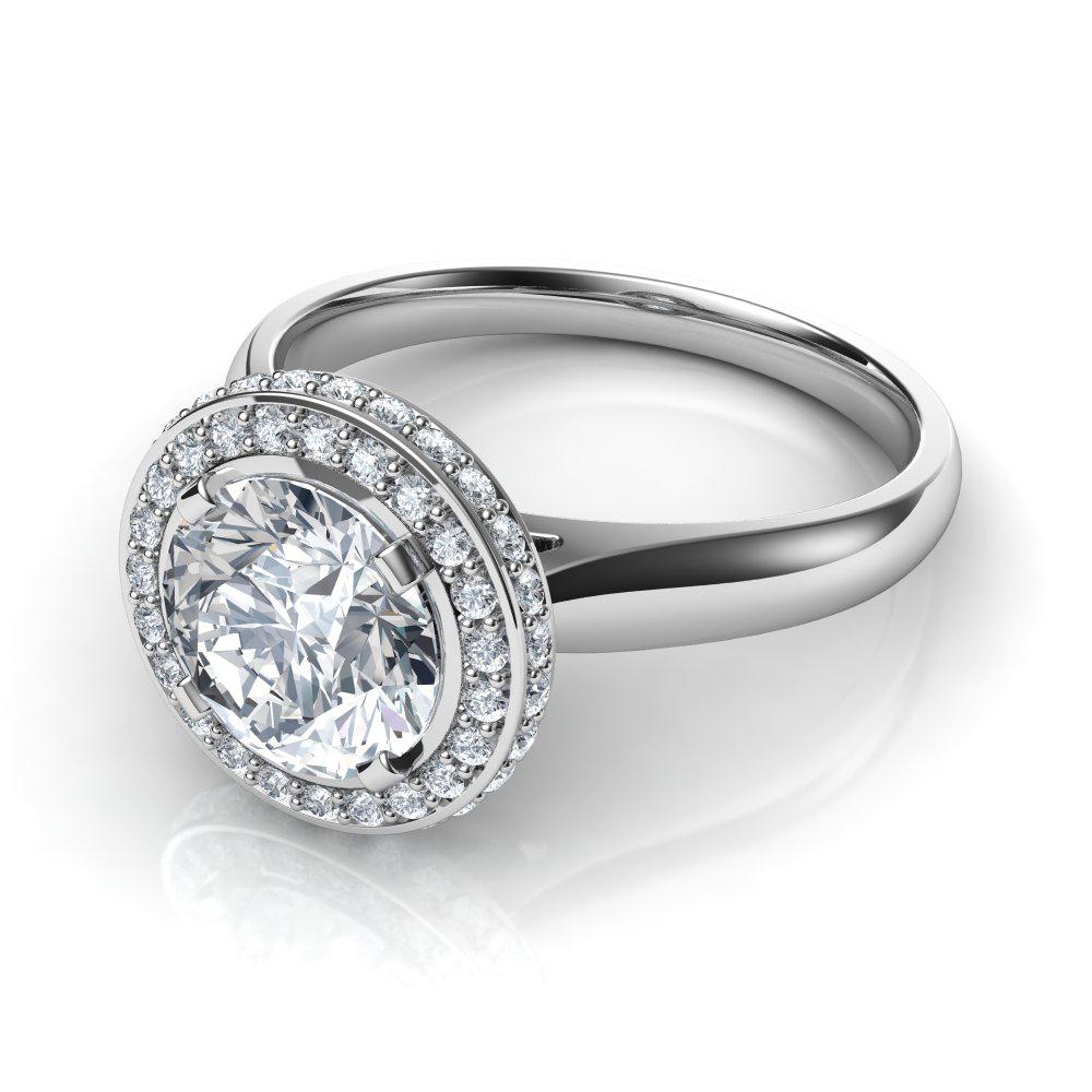 Two Sided Micro Pavé Halo Round Cut Diamond Engagement Ring Regarding Round Brilliant Diamond Micropavé Engagement Rings (Gallery 20 of 25)