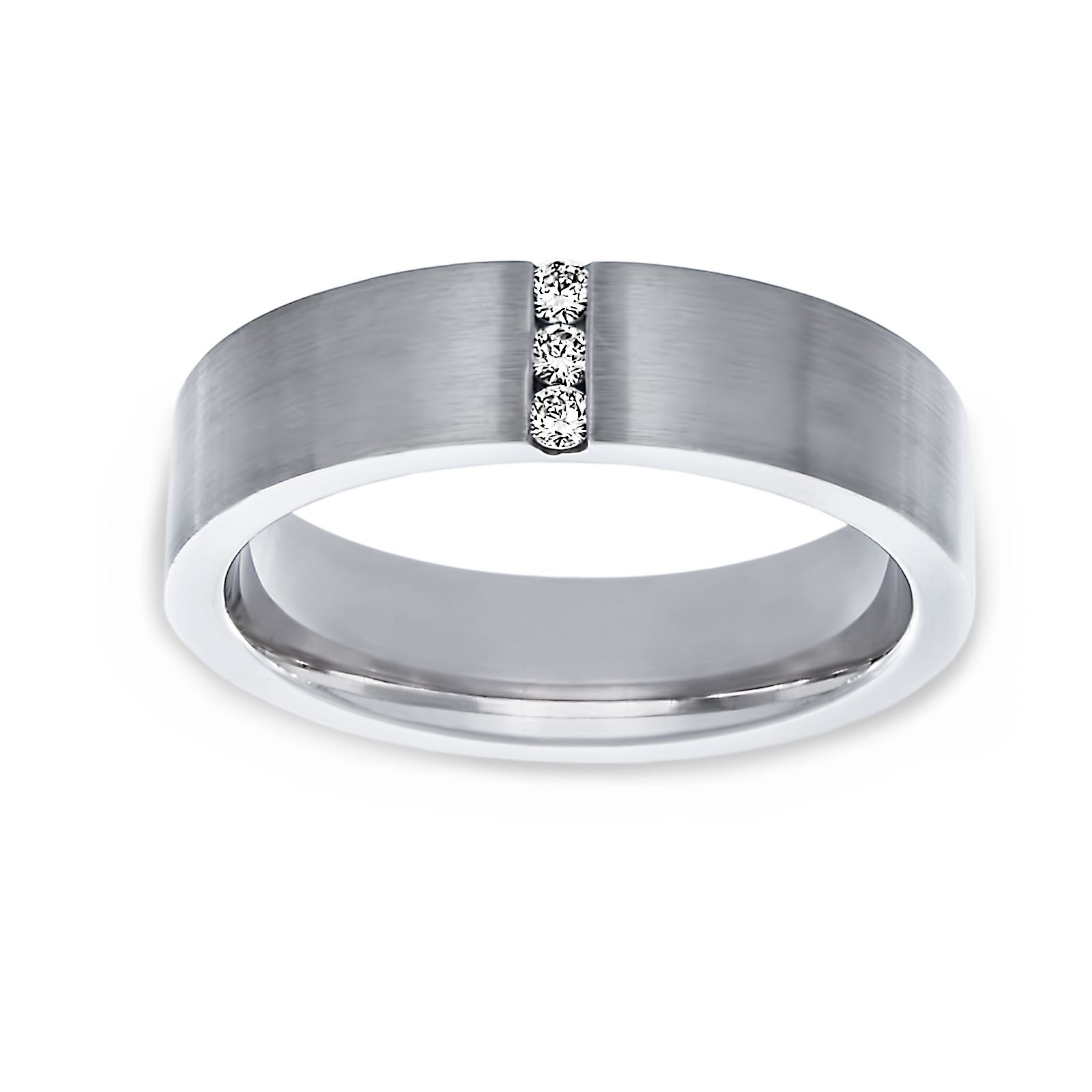 Twolondon Wide Satin Finish Vertical Diamond Row Wedding Band Regarding Most Up To Date Vertical Diamond Row Wedding Bands (View 4 of 25)