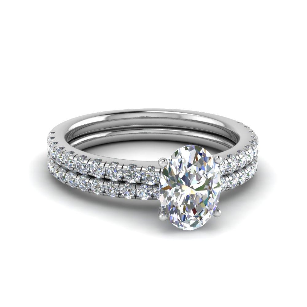 U Prong Diamond Wedding Ring Set Throughout Best And Newest Prong Set Oval Shaped Diamond Wedding Bands (View 4 of 25)
