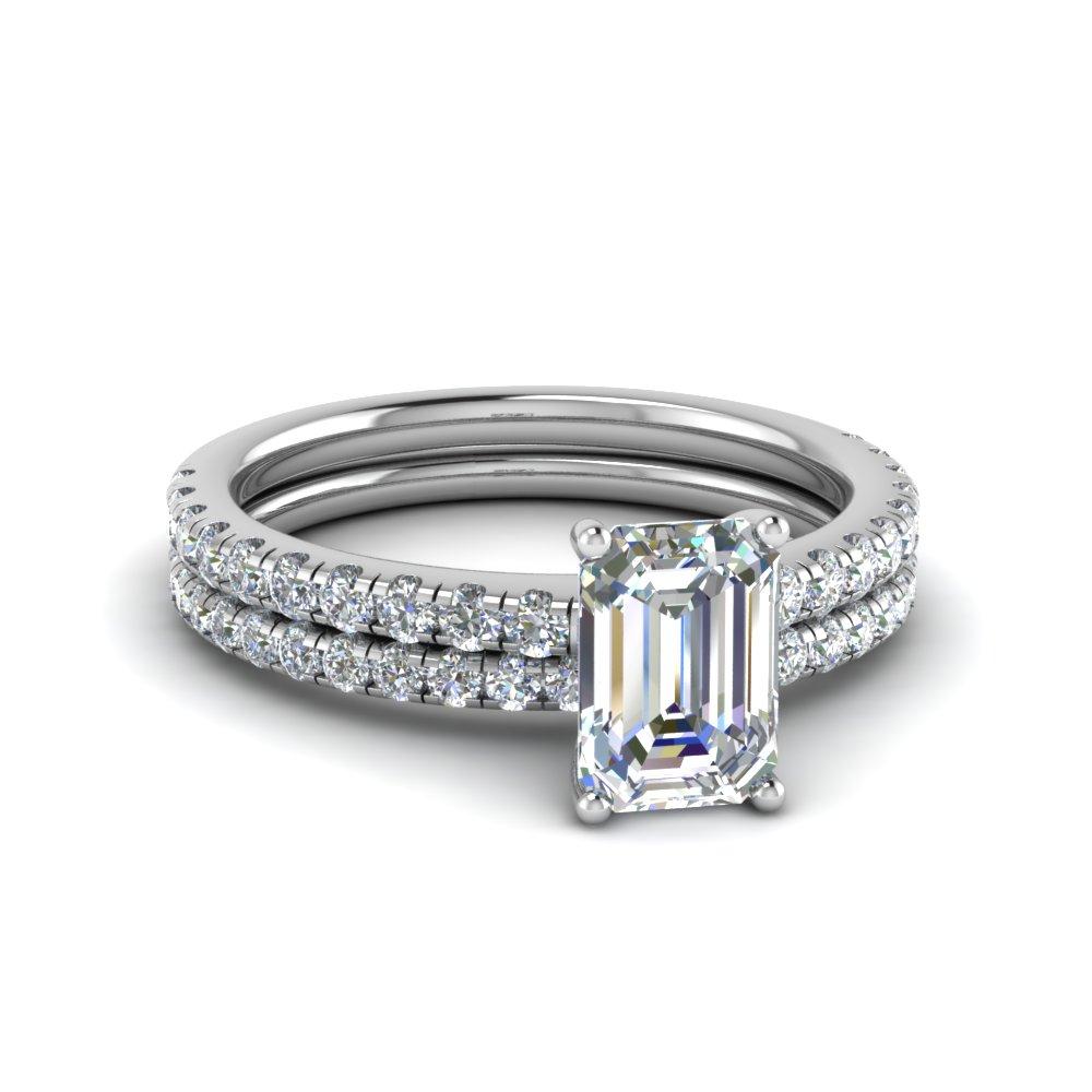 U Prong Diamond Wedding Ring Set Throughout Most Up To Date Prong Set Emerald Cut Diamond Wedding Bands (View 3 of 25)