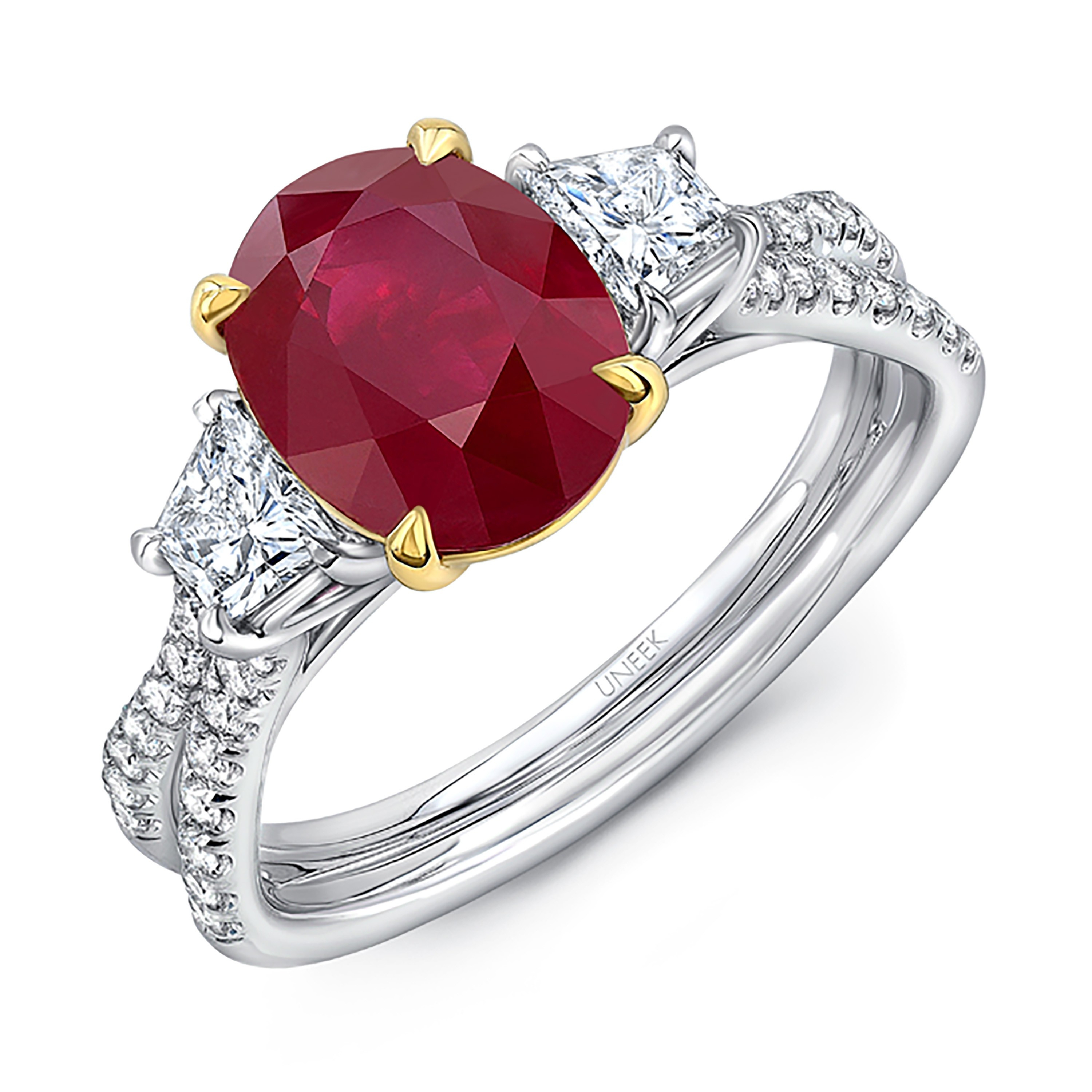 Uneek Ruby And Diamond Three Stone Ring With Oval Ruby Intended For Oval Shaped Ruby Micropavé Rings (View 23 of 25)