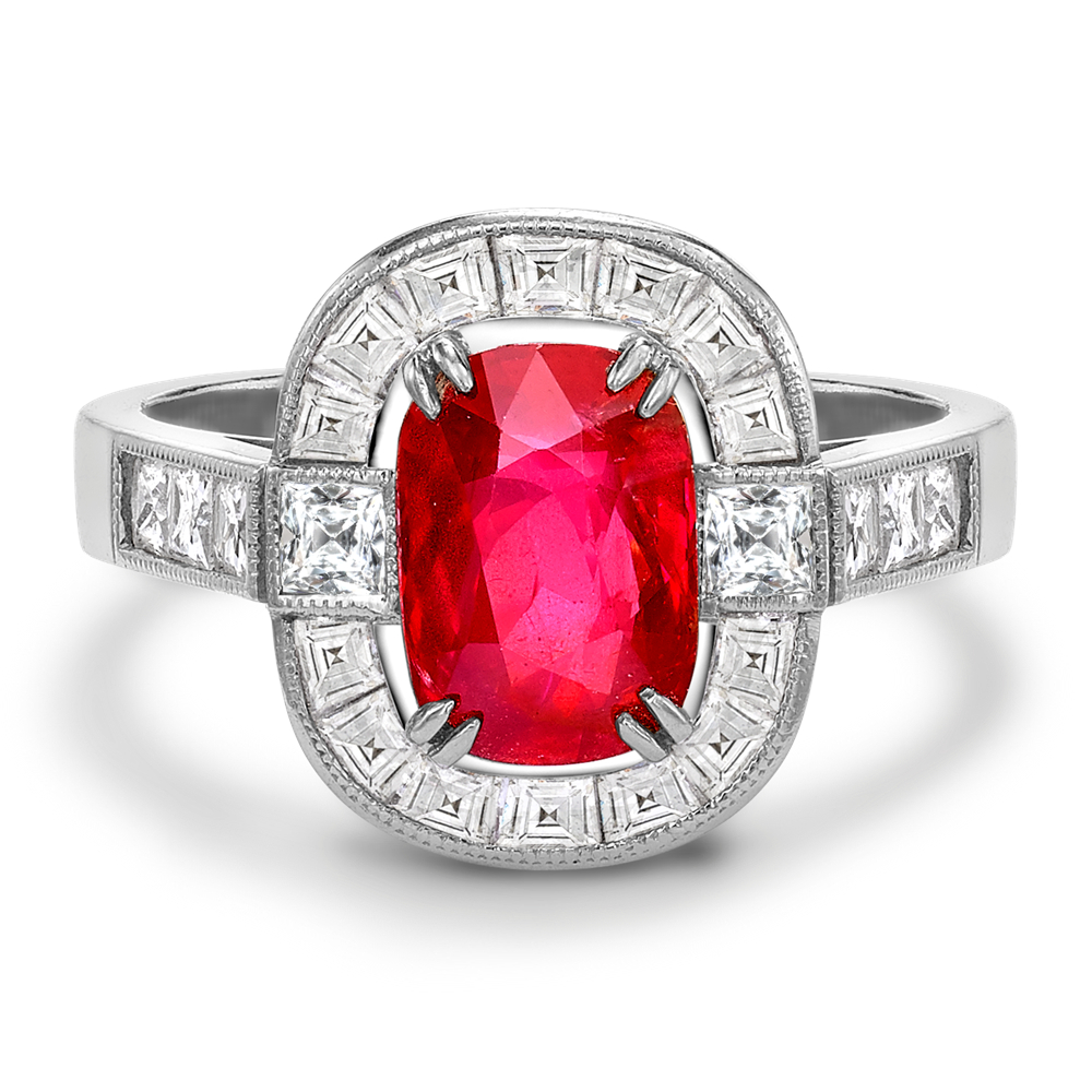 Unheated Cushion Cut Ruby Ring With Calibre Cut Surround With Cushion Cut Ruby Rings (View 18 of 25)