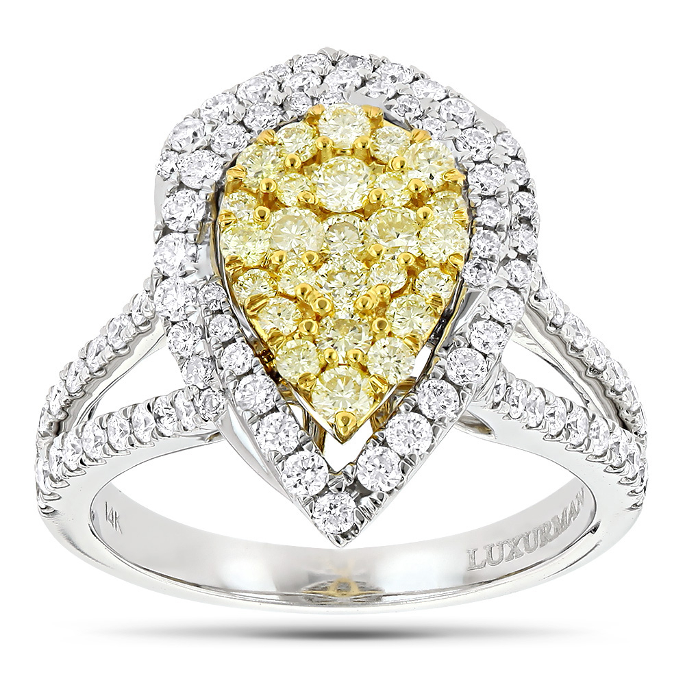 Unique 14k Gold White Yellow Diamond Pear Shape Cluster Ring For Women (View 15 of 25)