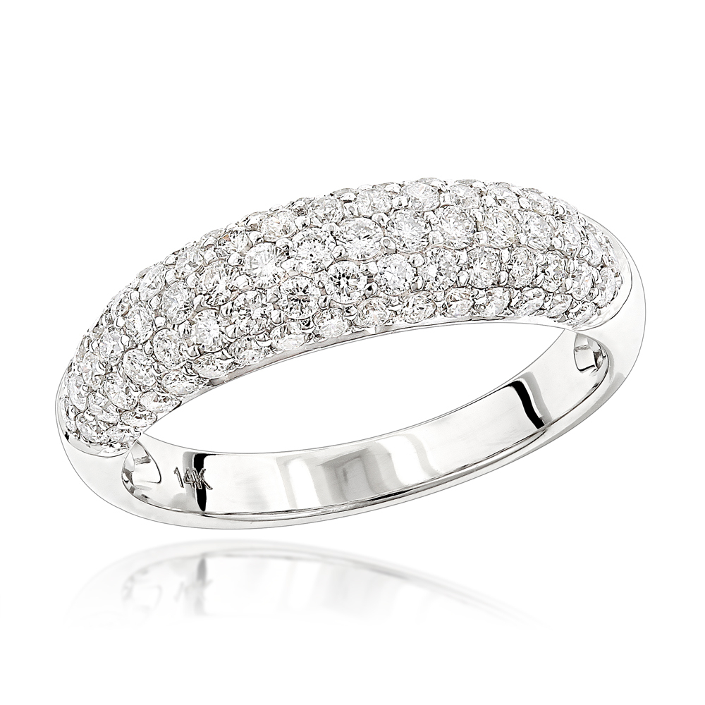 Unique Diamond Wedding Band For Women 14K Gold Pave Diamond Ring 1.3Ct With Regard To 2017 Micropavé Diamond Narrow Wedding Bands (Gallery 5 of 25)