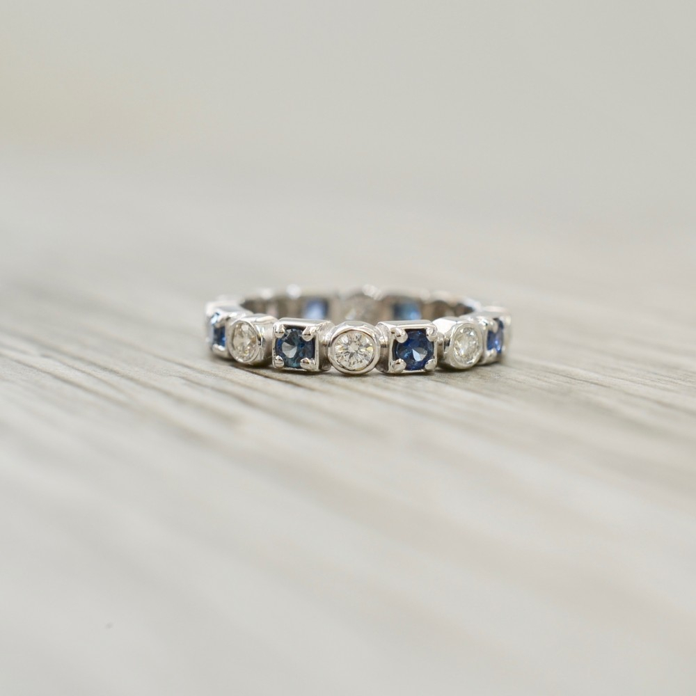 Unique Womens Wedding Bands Regarding Most Recent Prong Set Round Brilliant Sapphire And Diamond Wedding Bands (Gallery 9 of 25)