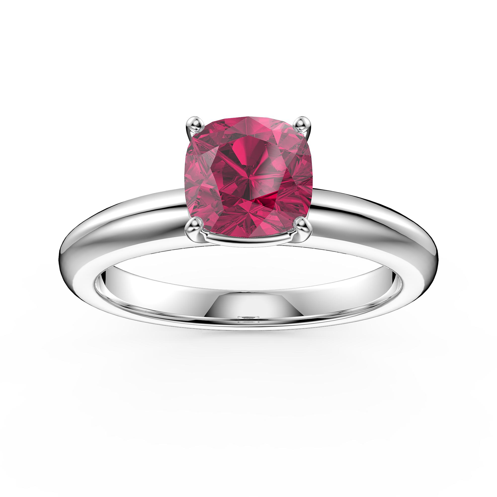 Unity 1Ct Cushion Cut Ruby Solitaire 18Ct White Gold Proposal Ring Intended For Cushion Cut Ruby Rings (Gallery 11 of 25)